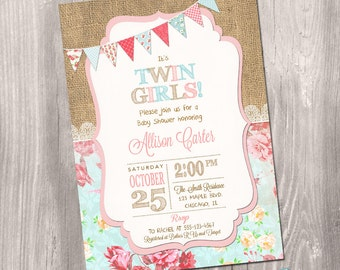 Twins baby shower invitation turquoise pink chevron boy twins baby shower invitation twin girls baby shower invitations twin girls invitation girl baby shower printable invitation digital filmwisefo
