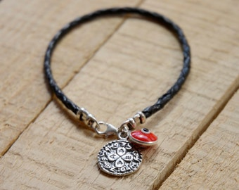 Love Solomon Seal & Red Evil Eye Charm on Braided Leather Bracelet