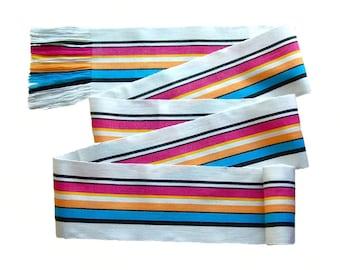 White Rainbow Belt, SA79 - Summer Sash - Gypsy Clothing - Ethnic Sash - Woven Sash Belt - Guatemalan Fabric - Pirate Sash