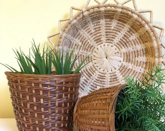 Vintage Boho Woven Rattan Basket Planters, Set of 2, Small and Medium
