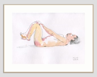 Male Nude ORIGINAL watercolor drawing of a man - watercolour and graphite pencil drawing - man figure studies by Catalina
