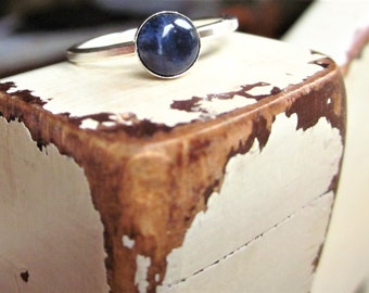 Blue Sodalite Ring Blue Gemstone Ring Blue Stone Ring Blue Sodalite Gemstone Ring Blue Round Ring Round Gemstone Ring Sodalite Stacking Ring