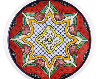 Red, Yellow and Blue Talavera Style Ceramic Cabinet Knob or Drawer Pull