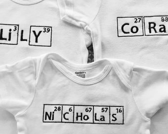 Chemistry baby etsy more colors glow in dark personalized embroidered science chemistry atomic element periodic table name onesie urtaz Image collections