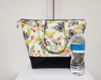 Koala Bear Lunch Bag, Vinyl Bottom, Insulated Lunch Bag, Womens Lunch Box, Nylon Lining with Pocket, Lunch Bag with Koala Bears, Washable.