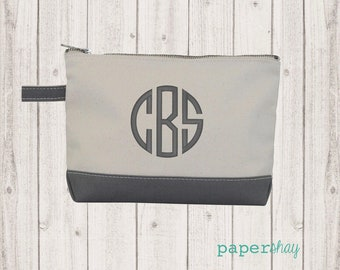 Monogram Make Up Bag - Monogrammed Makeup Canvas Bag - Monogrammed Make Up Bag - Personalized Travel Bag -Monogram Bridesmaids Gift, GRAY