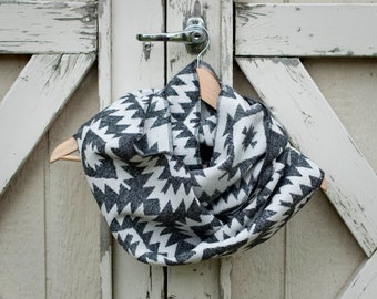 Ready to Ship Black and White Aztec Plaid Scarf Ladies Black Plaid Scarf  Ladies Plaid Flannel Scarf Girls Plaid Flannel Scarf
