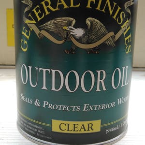 Outdoor Oil ( by Generals)  for funiture, chairs, signs, tables, decks, statues, offers wood protection( penetrating oil)