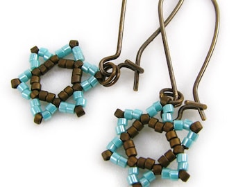 HASHAMAYIM judaica star earring, beadwoven aqua and brown, israeli protection symbol, solid brass earwires