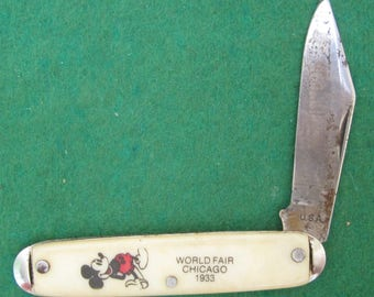 1933 Mickey Mouse Chicago Worlds Fair Souvenir Single Blade Pocket Folding Knife - Free Shipping