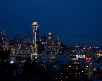 Travel Photography-An Evening In Seattle-Washington, Landscape, Urban, Metropolitan, Cityscape, SpaceNeedle, City, Fine Art Photography