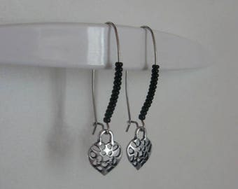 Silver worked heart earring