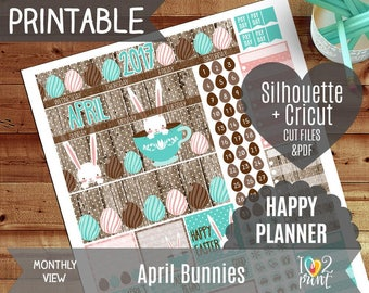 April Bunnies Monthly View Stickers, Printable Planner, Happy Planner 2017 Sticker, HP Monthly Overview, April Monthly - CUT FILES
