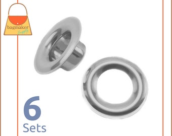 """Large Size 4 Grommets, Nickel Finish, 1/2"""" Opening, 6 Sets, Handbag Purse Bag Making Supplies Hardware, 1/2 Inch, .5 Inch, .5"""", EGR-AA006"""