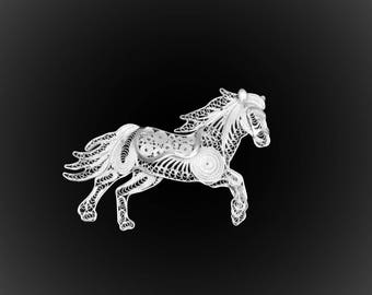 Embroidered with silver horse pendant brooch