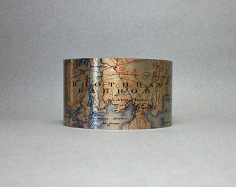 Boothbay Harbor Maine Map Cuff Bracelet Unique Gift for Men or Women