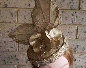 Gold Hat With Gold Orchids & Gold Veiling, OOAK, Mother of The Bride, Bridal Head Piece, Races Hat, Derby Hat, Melbourne Cup
