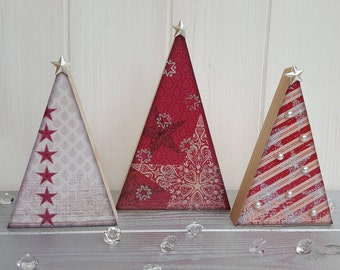 Wooden decoupage Christmas red tree trio, Three festive wood trees with pearl embellishments, Freestanding pine tree decorations