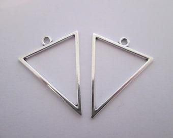2 triangle géométrique breloque en métal argenté 35 x 27 mm