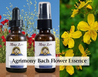 Agrimony Bach Flower Essence, 1 oz Dropper or Spray for Help Facing Challenging Emotions