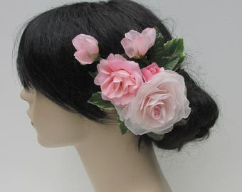 Delicate Pink Roses Hair Piece, Wedding, Maid of Honor, Prom, Special Occasion