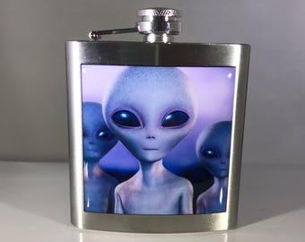 Alien UFO Liquor Hip Flask