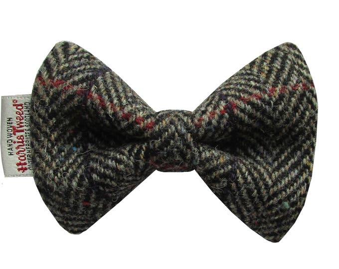 Harris Tweed Black/Grey Herringbone with Checks & Flecks Designer Dog Bow Tie