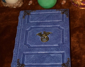 Dragon Blue flame Druid Wiccan Book Tome Grimoire lotr drake wyvern