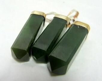 3 Piece Nephrite Jade Necklace , Nephrite Pendant , Nephrite Jewellry Size 30*5mm