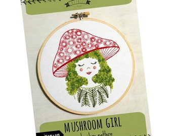 Modern Hand Embroidery Pattern   cozyblue Embroidery Design - Iron On Embroidery Pattern - MUSHROOM GIRL