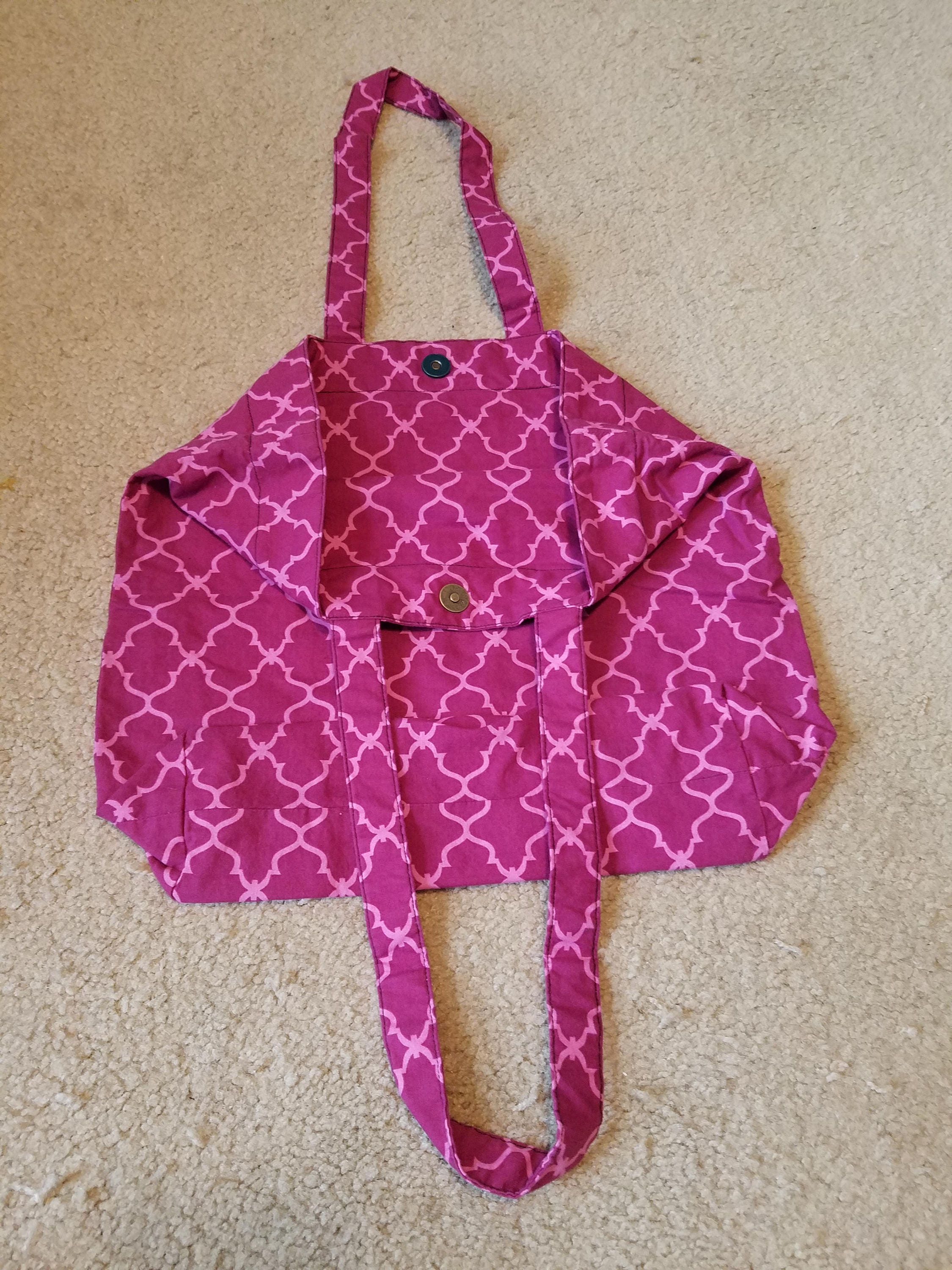 Pink & Purple Cloth Shopping Bag with Magnetic Snap Closure