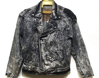 Vintage Rare 70s LEVIS double coller perfecto Jacket acid wash made in Usa