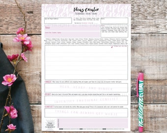 Printable Ideas Creator for Writers | Downloadable | Ideas Template | Develop your Story Ideas | Author and Writer Writing Resource