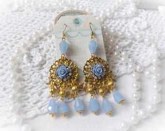 Victorian brass and blue crystal earrings