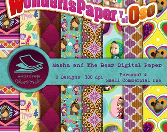Masha and the Bear Digital Papers - 8 Designs 12x12in, 30x30 cm - Ready to Print - High Quality