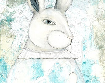White Rabbit Wall Art Printable- Bunny Wall Art , Whimsical Art For Kids or Above the Bed Art , Animal Nursery Theme Artwork