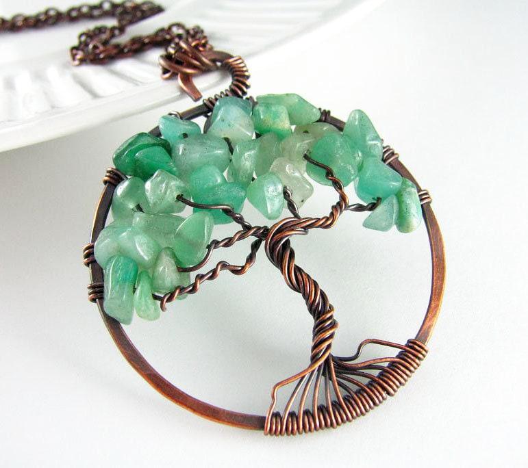 Lebensbaum Anhänger Draht gewickelt Schmuck grünen Aventurin