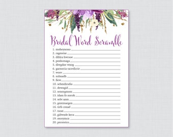 Purple Floral Bridal Shower Word Scramble - Printable Purple and Gold Watercolor Flower Bridal Shower Game - Garden Bridal Shower Game 0008