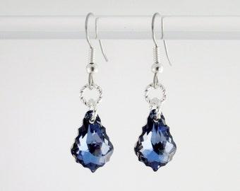 Swarovski Crystallized Baroque Deep Blue Earrings, Bridesmaid Earrings, sterling silver 925 & Surgical Steel, Sparkling dark earrings