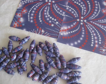 Patriotic Red White and Blue paper beads, hand made, 4th of July colors, jewelry making, 42 beads