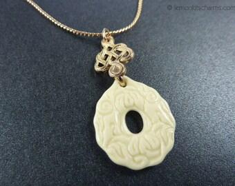 Vintage Avon Convertible Charm Necklace, Jewelry 1980s, Goldtone Gold Pendant, Longevity, Cream Plastic