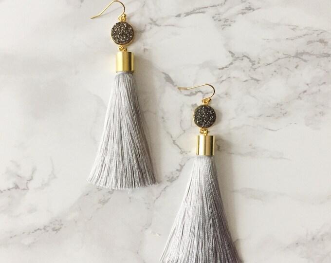 Gray Tassel Drop Earrings - Silver Druzy