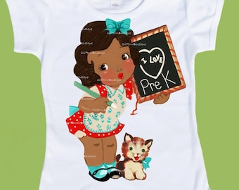 I Love Pre K, Pre-K shirt, preschool shirt,back to school shirts, African American, Brown skin,graphic tees, ChiTownBoutique
