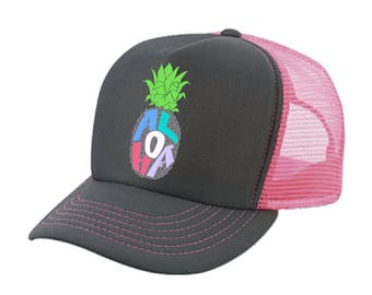 Aloha Pineapple Hawaii hat - Womens mens Snap back Trucker STyle mesh hat