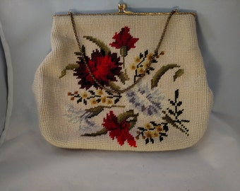 Christine Custom Bag, Detroit, Needlepoint Handbag, Colorful Floral Pattern, Gold Tone Frame