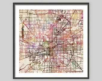 INDIANAPOLIS Map, Indiana, Watercolor painting, Old paper, Giclee Fine Art, Modern Abstract, Poster Print, Wall Art, Home Decor, Decoration