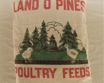 Vintage Land O Pines Perham MN Chicken Feed Sack Handmade Pillow
