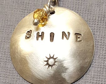 Sterling Silver SHINE Circle Pendant