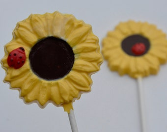 Chocolate Sunflower Lollipops (12), Sunflower Chocolates, Baby Shower Chocolate Favors, Chocolate Wedding Favors, Rustic Wedding Chocolates