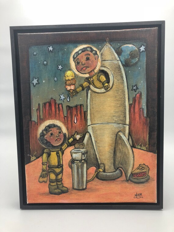 "Pop Surreal Oil Painting ""Cant Have It"" 11x14 inches on Canvas with floater frame - Original Art - Pop Surrealism - Lowbrow - Oil Painting"